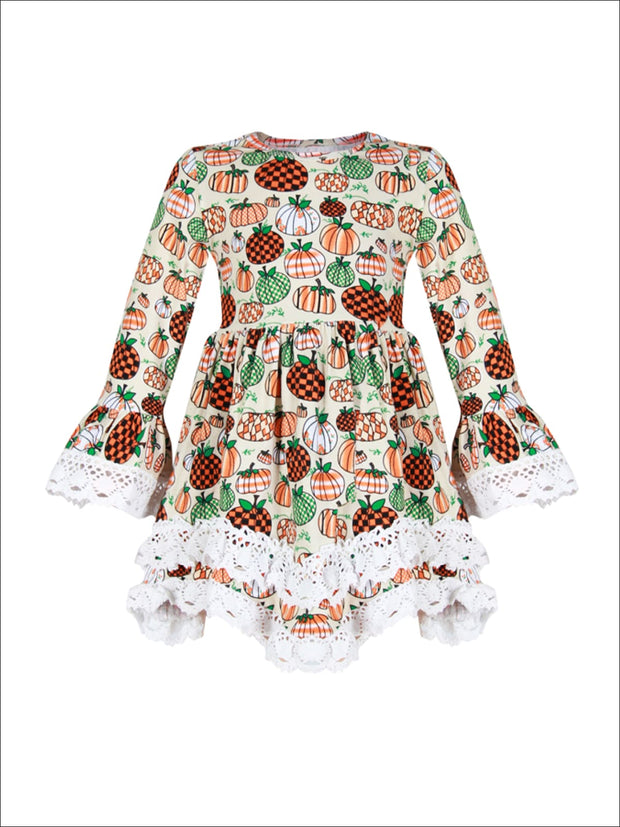 Girls Pumpkin Print Crochet 2-Tiered A-Line Tunic Dress with Long Bell Sleeves - Girls Fall Casual Dress