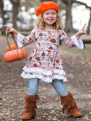 Girls Pumpkin Print Crochet 2-Tiered A-Line Tunic Dress with Long Bell Sleeves - Orange / XS- 2T - Girls Fall Casual Dress