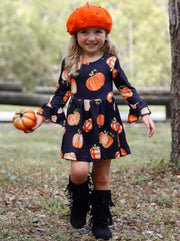 Girls Pumpkin Print Long Flared Sleeve Dress - Girls Fall Casual Dress