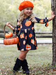 Girls Pumpkin Print Long Flared Sleeve Dress - Black / S-3T - Girls Fall Casual Dress