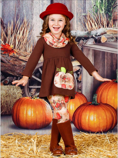 Girls Pumpkin Print Long Sleeve Tunic Leggings & Scarf Set - Girls Fall Casual Set