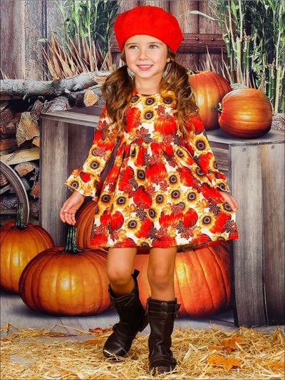 Girls Pumpkin Print Ruffled Long Sleeve Dress - Girls Fall Casual Dress