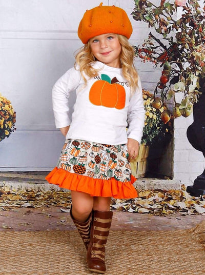 Girls Pumpkin Printed Long Sleeve Top & Ruffled Skirt Set - Girls Fall Casual Set