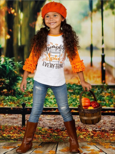 Girls Pumpkin Spice Everything Long Raglan Sleeve Ruffled Top - Girls Fall Top