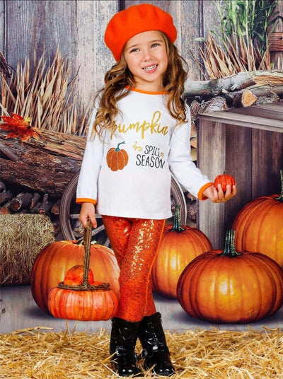 Girls Pumpkin Spice Season Long Sleeve Top & Bow Sequin Leggings Set - Girls Fall Casual Set