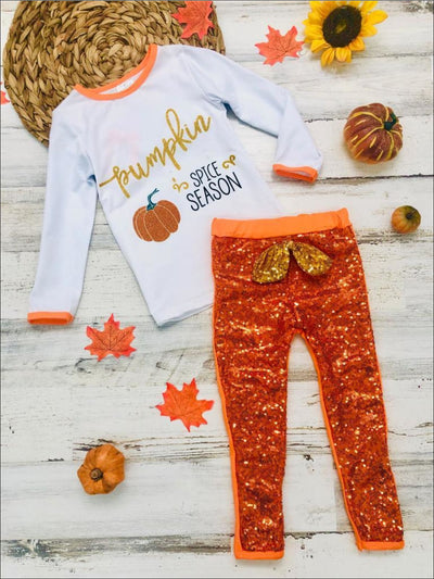 Girls Pumpkin Spice Season Long Sleeve Top & Bow Sequin Leggings Set - Orange / 8Y - Girls Fall Casual Set