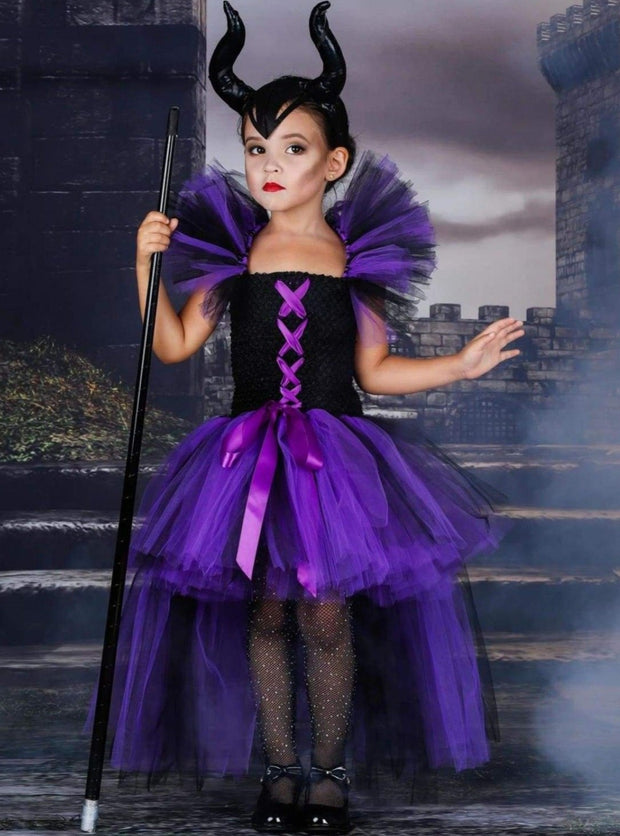 Girls Purple & Black Maleficent Inspired Halloween Tutu Dress - Girls Halloween Costume
