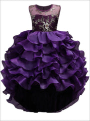 Girls Purple Tiered Ruffle Gold Embroidered Dressy Holiday Dress - Girls Fall Dressy Dress