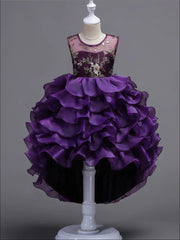 Girls Purple Tiered Ruffle Gold Embroidered Dressy Holiday Dress - Purple / 3T/4T - Girls Fall Dressy Dress