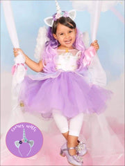 Girls Purple Unicorn Halloween Tutu Dress with Matching Headband