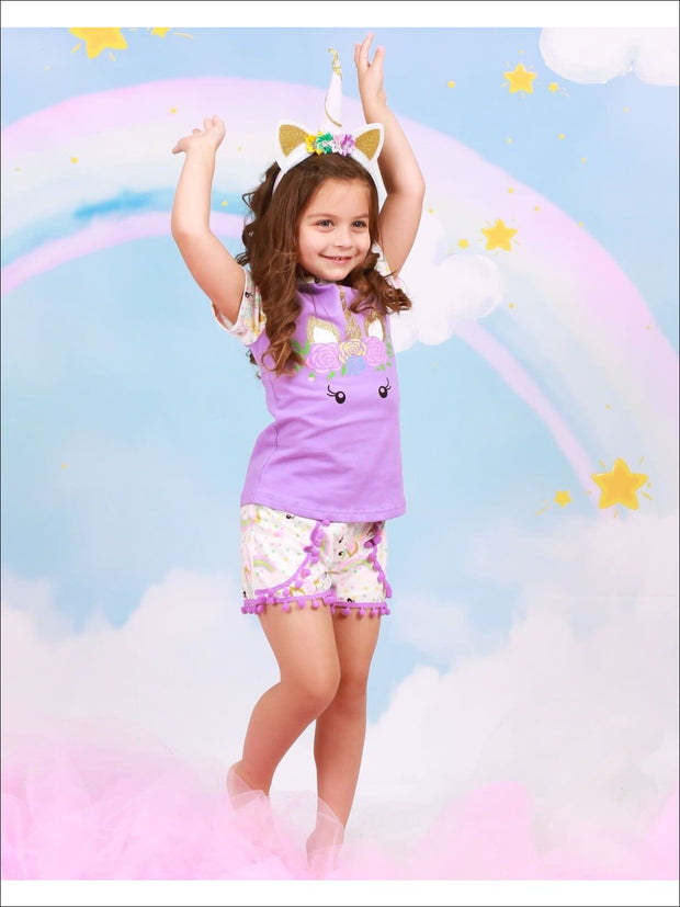 Girls Purple Unicorn Print Gold Glittered T-Shirt & Matching Pom Pom Shorts Set - Girls Spring Casual Set