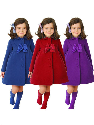 Girls Purple Velvet Pea Coat with Bow - Girls Jacket
