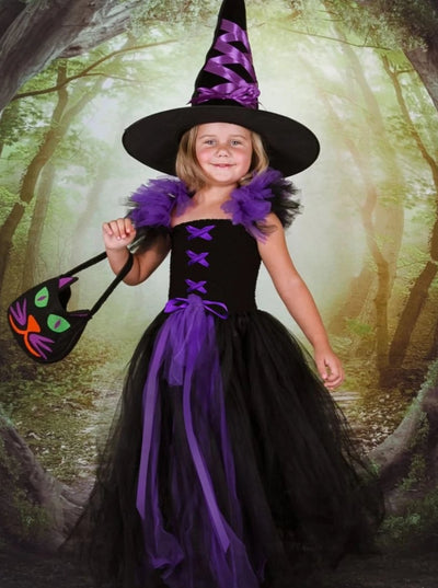 Girls Purple/Black Witch Halloween Tutu Dress Costume - Black / 4/5 - Girls Halloween Costume