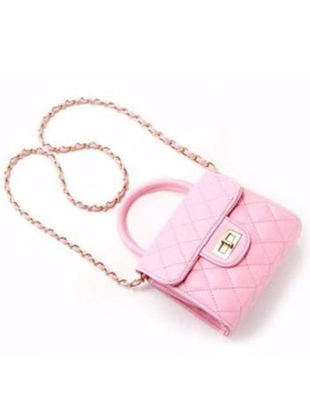 Girls Quilted Chanel Inspired Fashion Chain Purse - Girls Purse