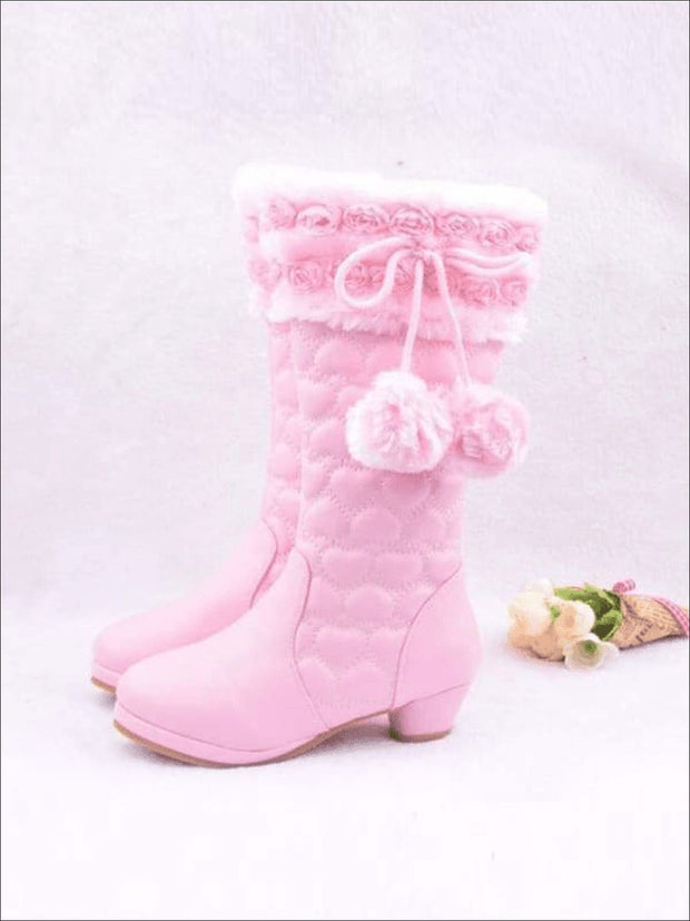 Girls Quilted Heart Mid-Calf Boots with Rose Buds & Fuzzy Pom Poms - Girls Boots
