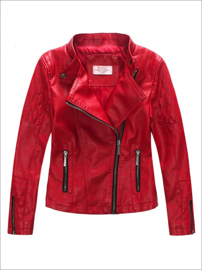 Girls Quilted Sleeve Synthetic Leather Moto Jacket - Girls Jacket