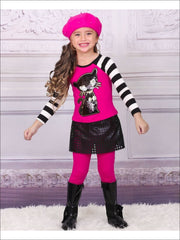 Girls Raglan Cat Applique Top & Skirted Legging Set - Girls Fall Casual Set
