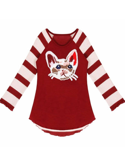 Girls Raglan Cat Applique Top with Back Ruffle - Girls Fall Top