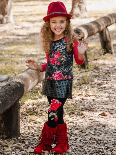 Girls Raglan Floral Print Top & Skirted Leggings with Floral Applique Set - Girls Fall Casual Set