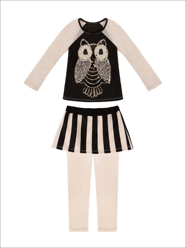 Girls Raglan Owl Applique Top & Skirted Legging Set - Fall Low Stock