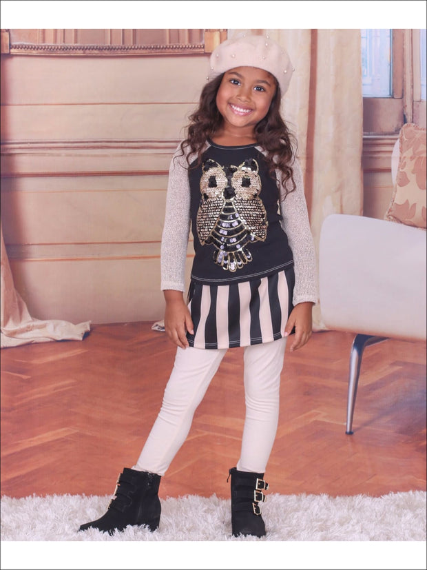 Girls Raglan Owl Applique Top & Skirted Legging Set - 2T/3T / Beige/Black - Fall Low Stock