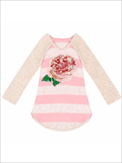 Girls Raglan Rose Applique Top with Back Ruffle - Fall Low Stock