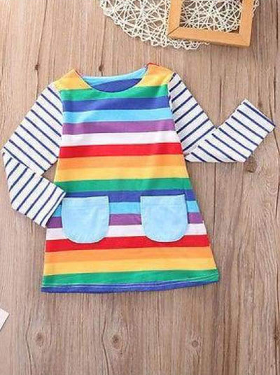 Girls Rainbow Candy Stripe Long Sleeve Party Dress - Girls Fall Casual Dress