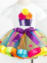 Girls Rainbow Cupcake T-Shirt & Polka Dot Tutu Skirt Set - Girls Spring Dressy Set