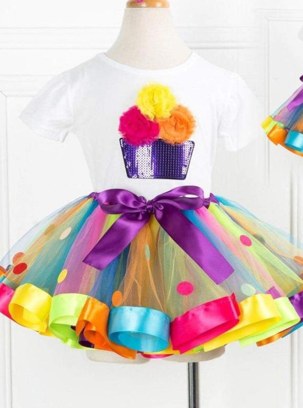 Girls Rainbow Cupcake T-Shirt & Polka Dot Tutu Skirt Set - Rainbow / 2T - 3T - Girls Spring Dressy Set