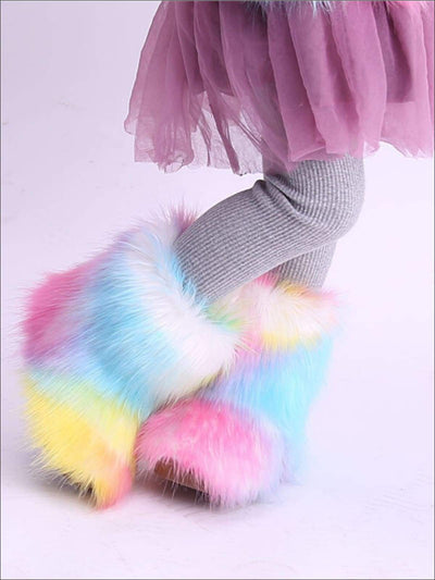 Girls Rainbow Faux Fur Ankle Boots - Girls Boots