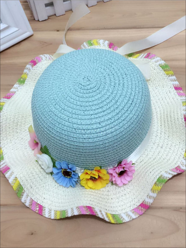 Girls Rainbow Floral Straw Hat - Sky Blue - Girls Hats