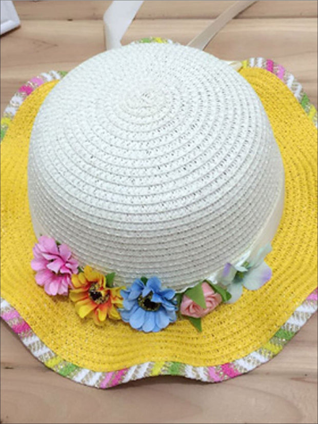 Girls Rainbow Floral Straw Hat - Yellow - Girls Hats