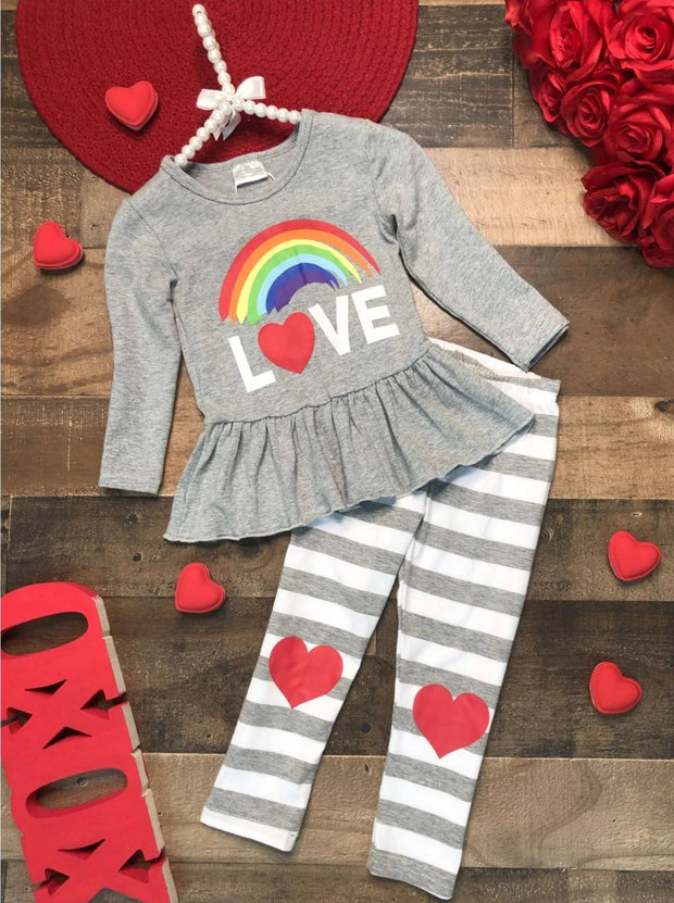 Girls Rainbow Love Peplum Top and Striped Heart Leggings Set - Grey / 2T - Girls Fall Casual Set