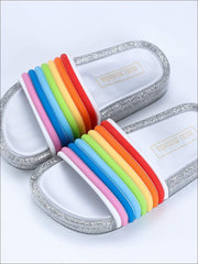 Girls Rainbow Straps LED Flash Jelly Slides - Silver / 7 - Girls Sandals