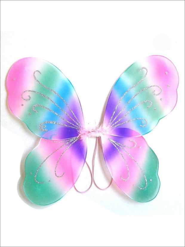 Girls Rainbow Unicorn Fairy Wings - Rainbow - Girls Halloween Costume