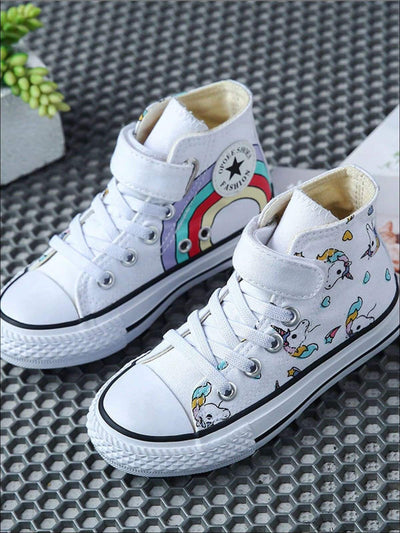 Girls Rainbow & Unicorn Print Sneakers - Girls Sneakers