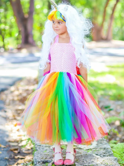 Girls Rainbow Unicorn Tutu Costume Dress - Rainbow / 2T - Girls Halloween Costume