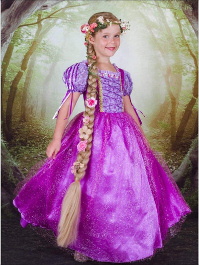 Girls Rapunzel Inspired Deluxe Halloween Costume Dress - Girls Halloween Costume