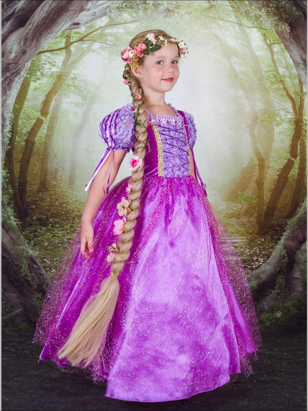 Girls Rapunzel Inspired Deluxe Halloween Costume Dress - Purple / 3T - Girls Halloween Costume