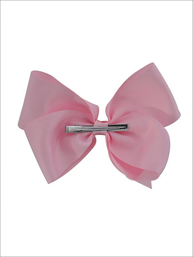 Girls Red 8 Inch Large Ribbon Hair Bow With Alligator Clip - Hair Accessories