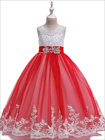 Girls Red And White Rhinestone Embellished Holiday Maxi Dress - Red / 3T - Girls Fall Dressy Dress