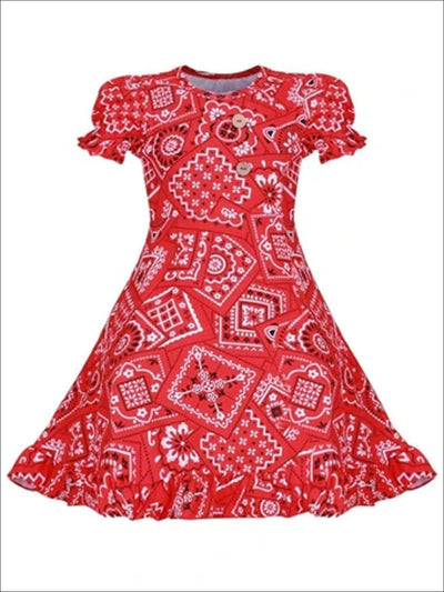 Girls Red Bandana Print A-Line Front Button Ruffled Hem Dress - Red / S-3T - Girls Spring Casual Dress