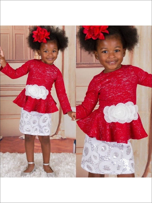 Girls RED BLACK Bow Front Blouse w/ Sequin Holiday A Line Skirt - RED/BLACK / 2T - Fall Low Stock