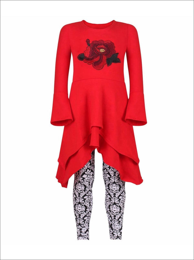 Girls Red & Black Double Layer Cuffed Sleeve Tunic & Leggings Set - Girls Fall Casual Set