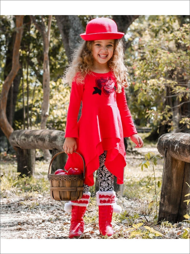 Girls Red & Black Double Layer Cuffed Sleeve Tunic & Leggings Set - Red/Black / 2T/3T - Girls Fall Casual Set