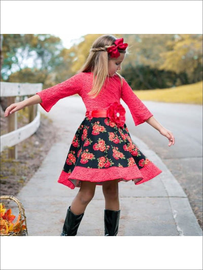 Girls Red Black Floral Circle Skirt Dress - Girls Fall Dress
