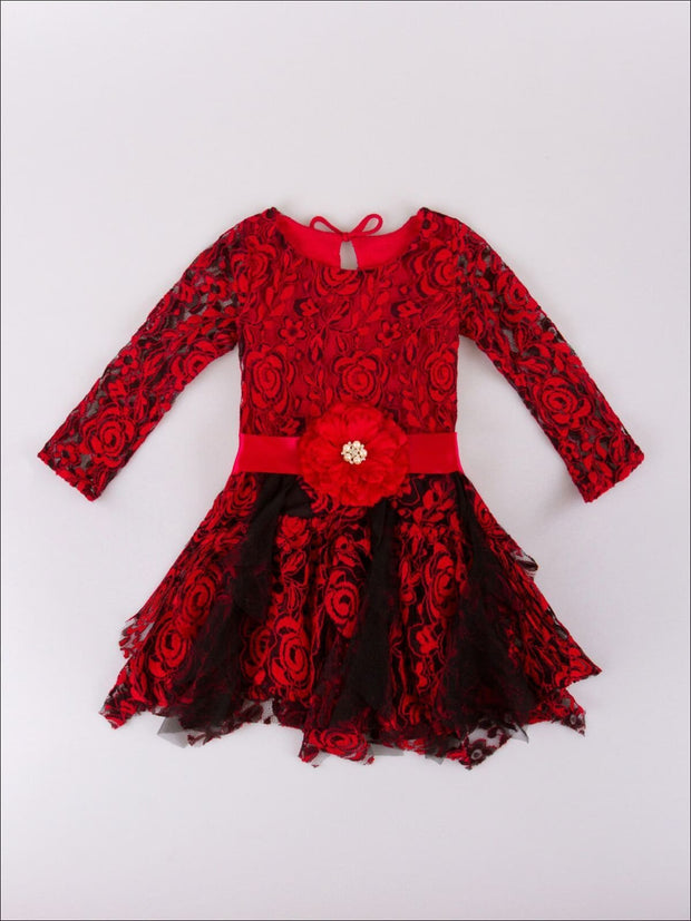 Girls Red & Black Floral Lace Dress