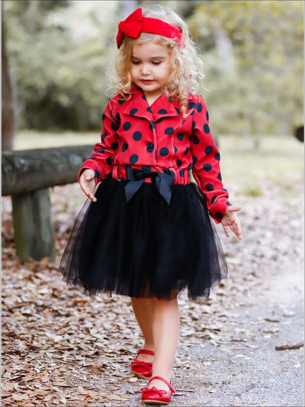 Girls Red & Black Polka Dot Blazer Tutu Dress with Bow - Girls Fall Dressy Dress