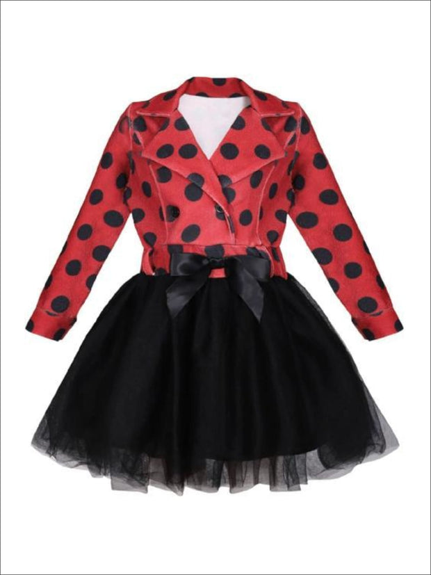 Girls Red & Black Polka Dot Blazer Tutu Dress with Bow - Red / 2T-3T - Girls Fall Dressy Dress