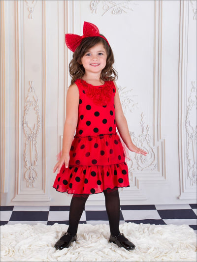 Girls Red & Black Polka Dot Ruffle Dress